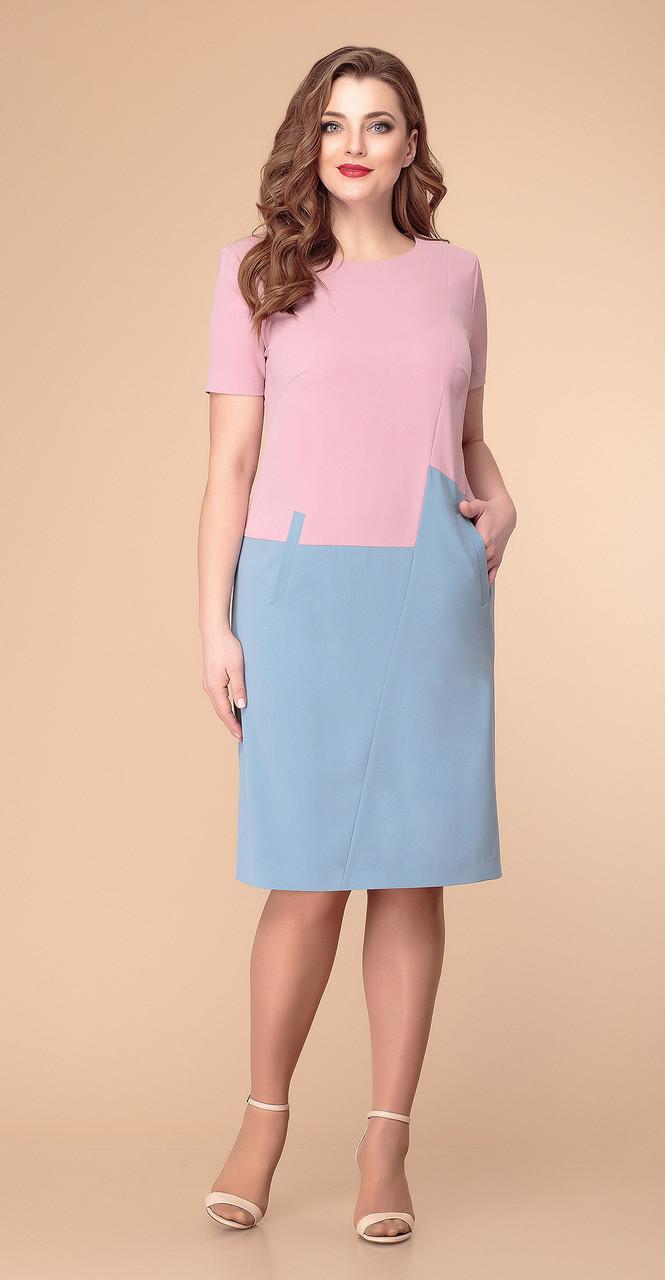 Платье Romanovich-1-1962 белорусский трикотаж, приглушенно-розовый/голубой, 52