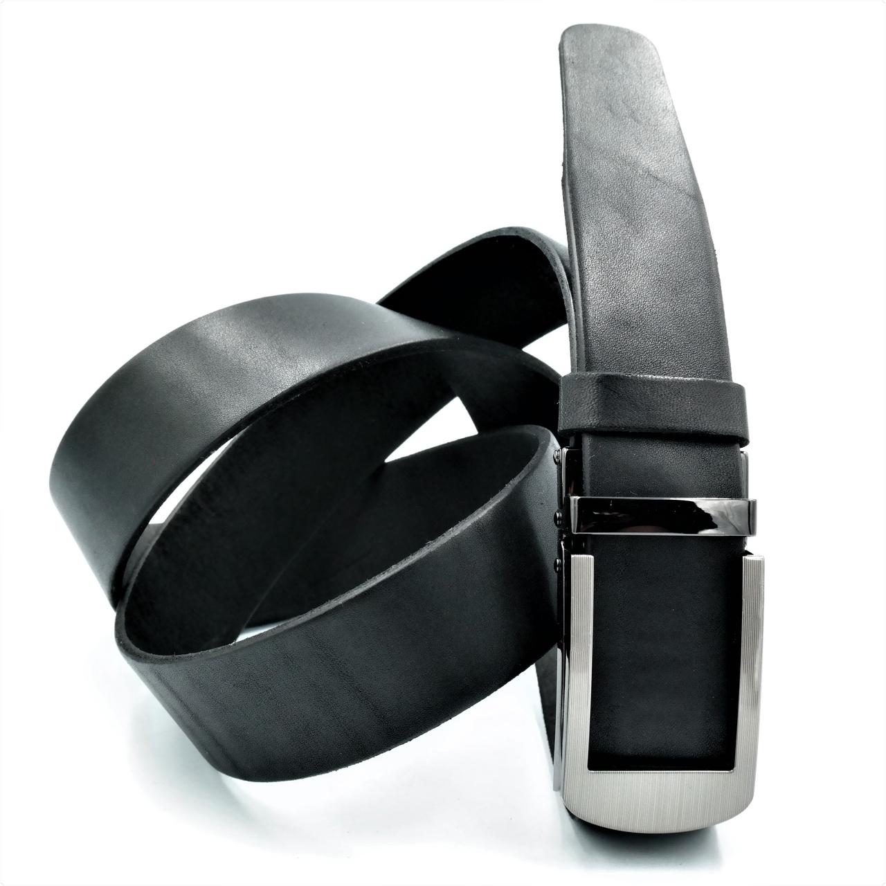 Мужской кожаный ремень-автомат Le-Mon 110-125 см Черный (newm-35avk-0001)