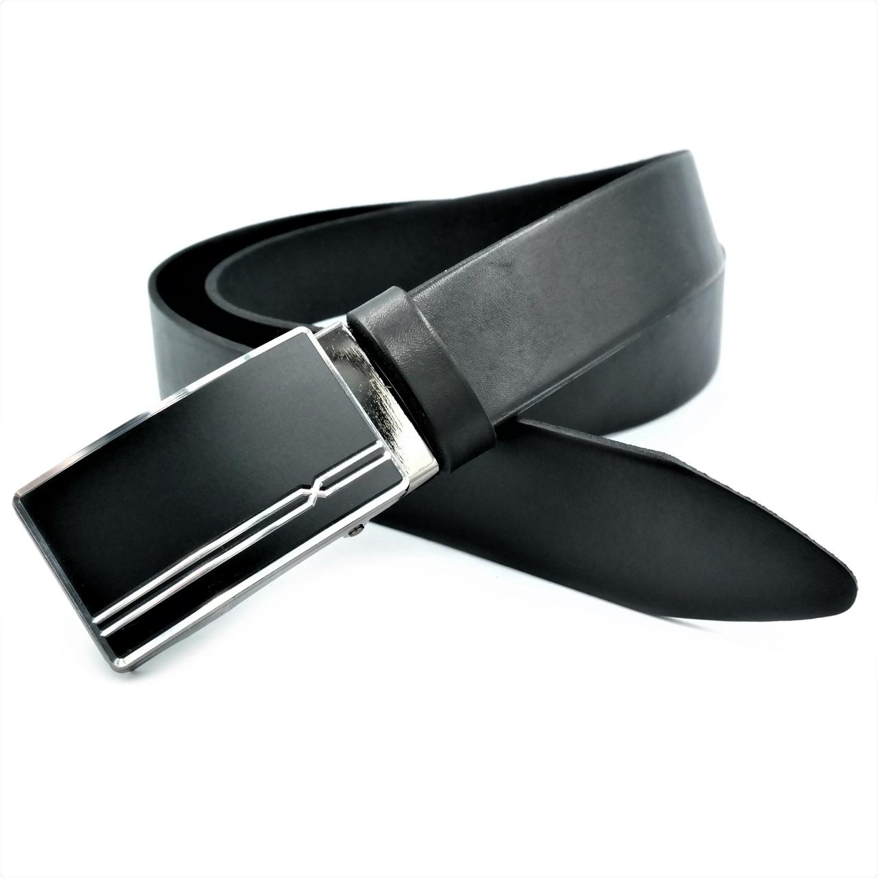 Мужской кожаный ремень Le-Mon 110-125 см Черный (nwm-35zjk-0003)
