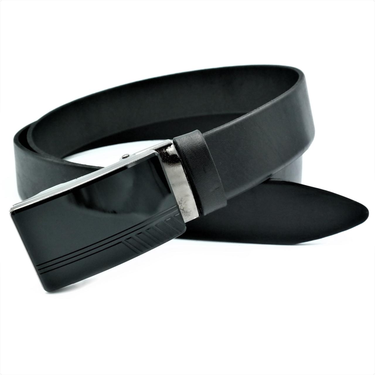Мужской кожаный ремень Le-Mon 110-125 см Черный (nwm-35zjk-0006)