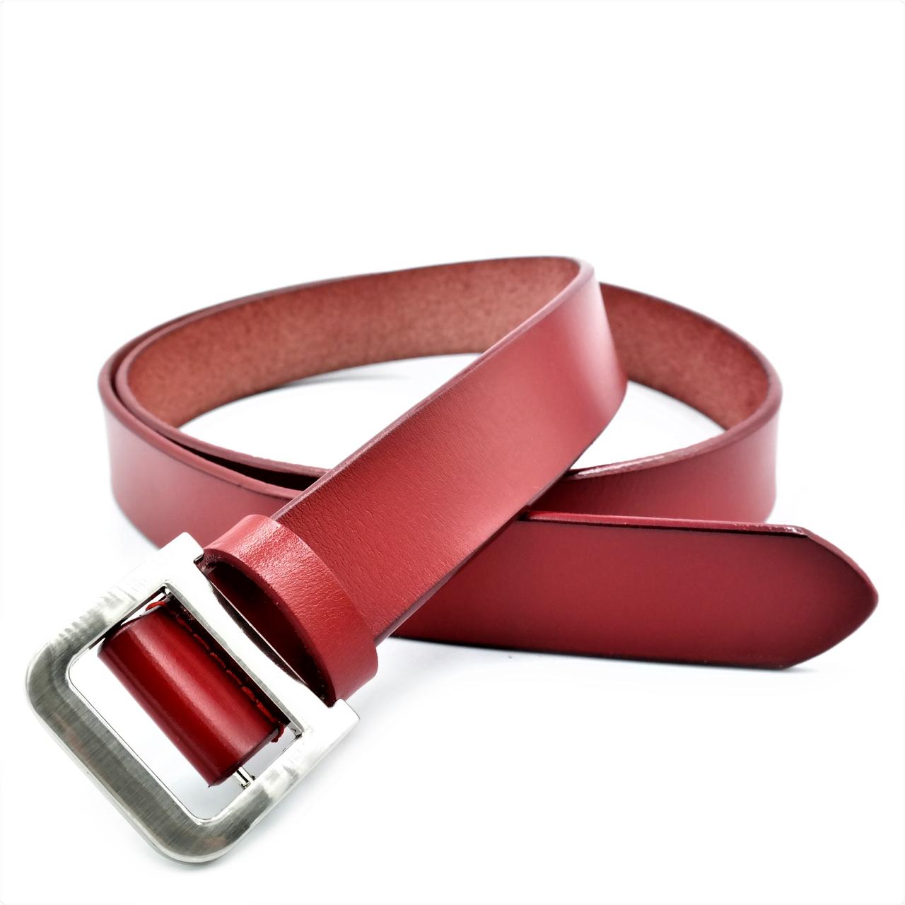 Жіночий шкіряний ремінь Le-Mon 110-115 см Червоний (nwzh-30k-0052)