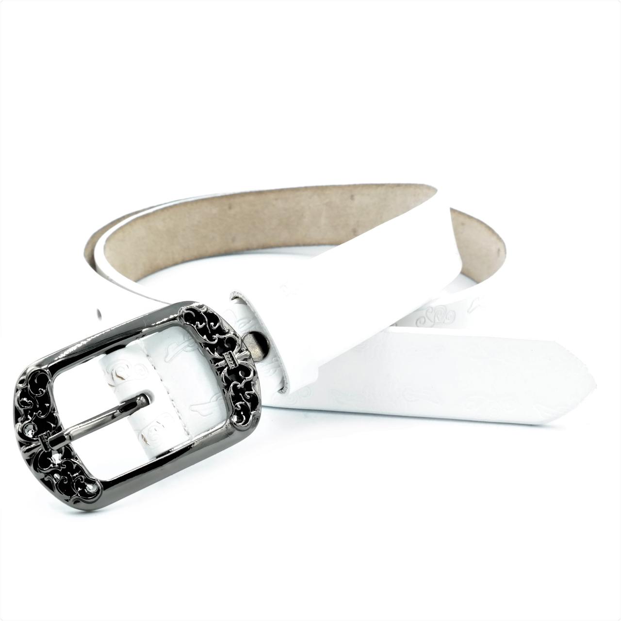 Жіночий шкіряний ремінь Le-Mon 110-115 см Білий (nwzh-30k-0032)