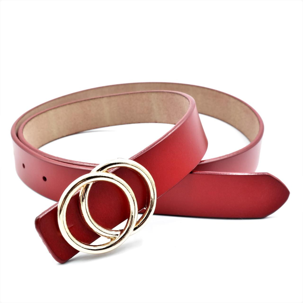 Женский кожаный ремень Le-Mon 110-115 см Красный (nwzh-30k-0060)
