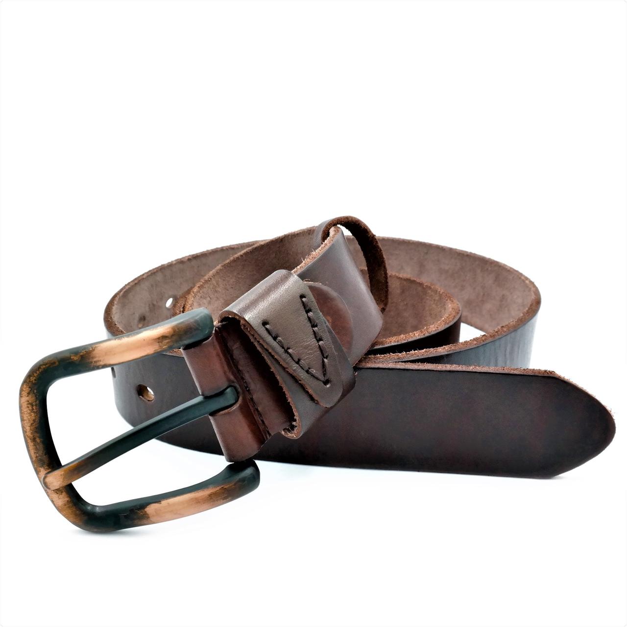 Мужской кожаный ремень Le-Mon 110-125 см Коричневый (new-m-40k-003)
