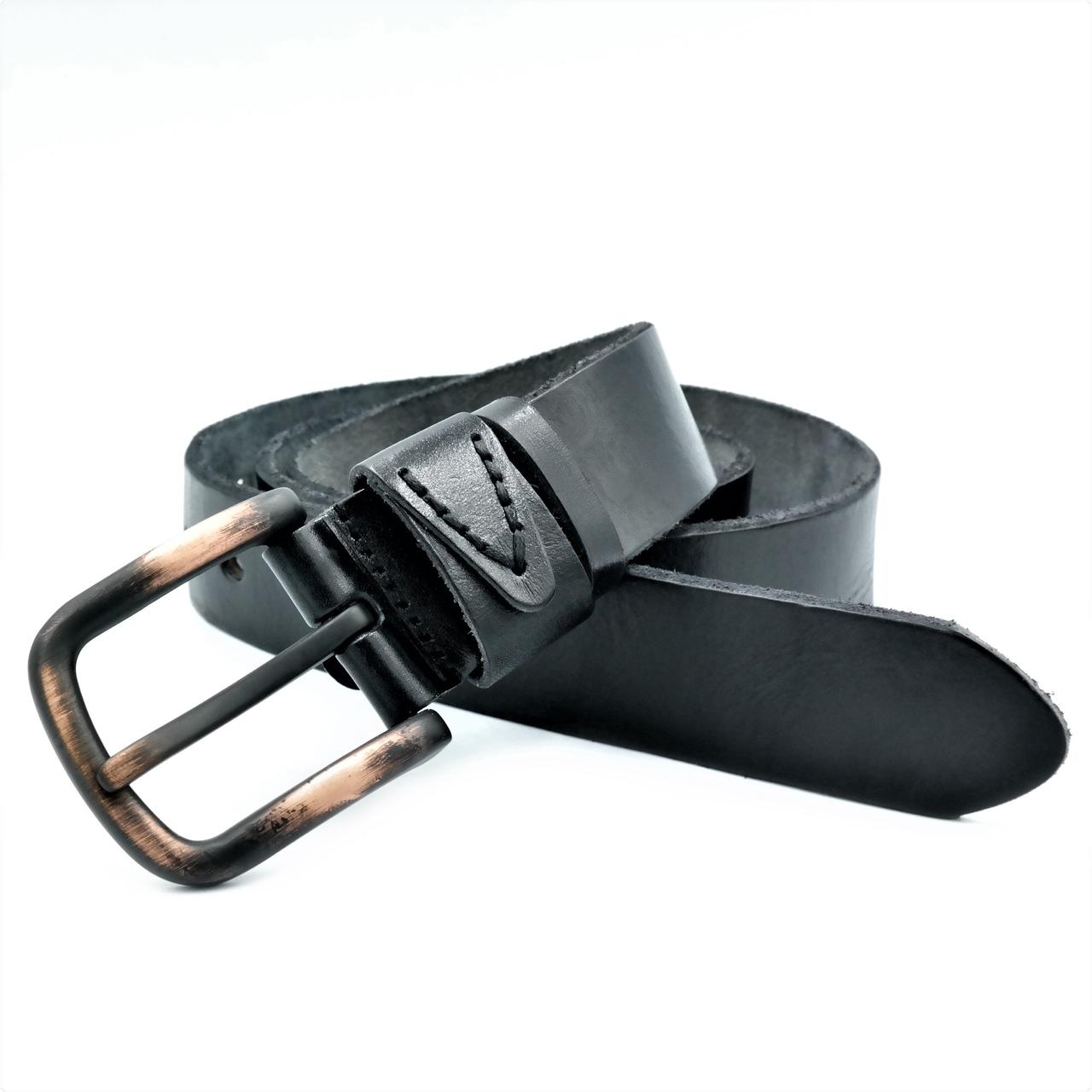 Чоловічий шкіряний ремінь Le-Mon 110-125 см Чорний (new-m-40k-007)