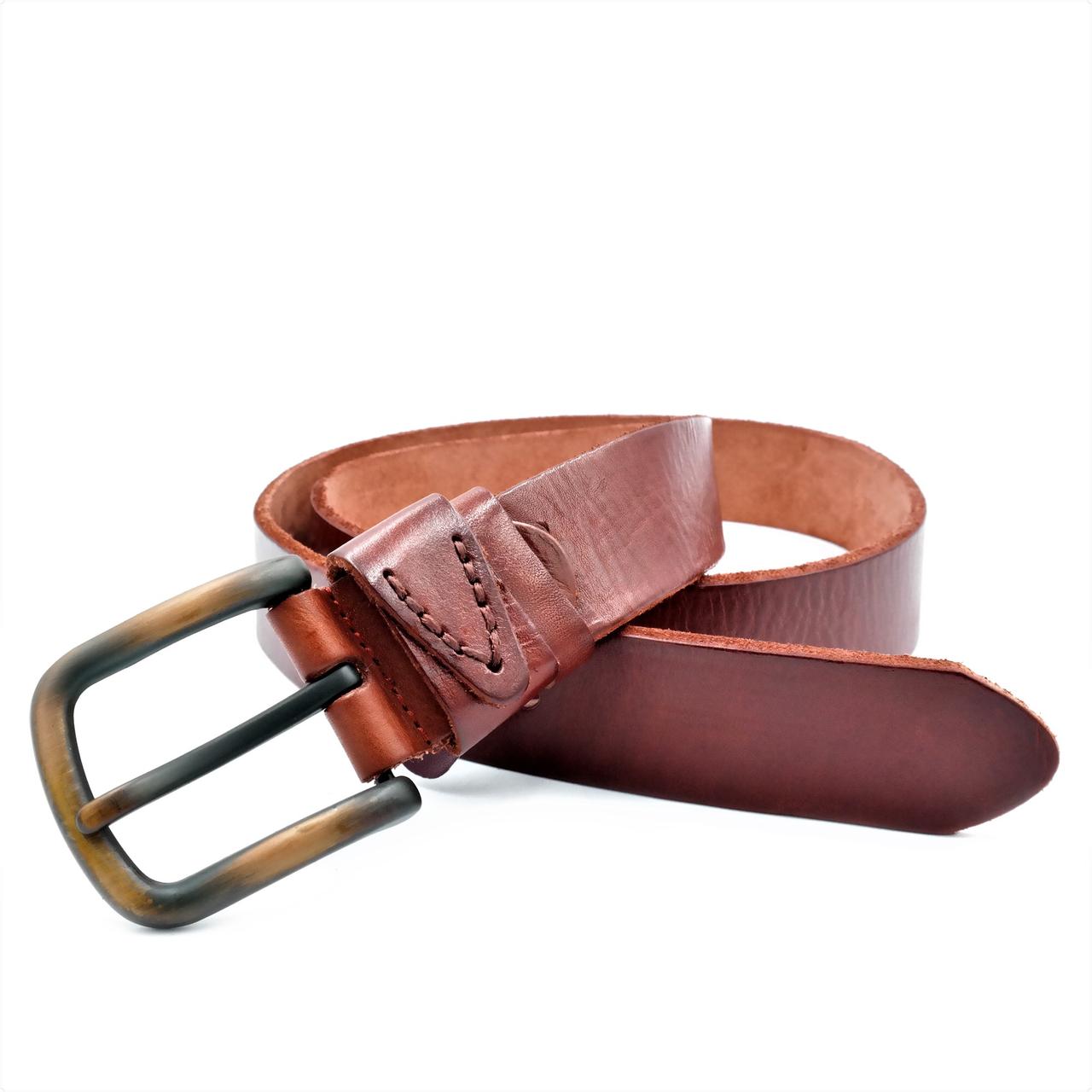 Мужской кожаный ремень Le-Mon 110-125 см Коричневый (new-m-40k-004)