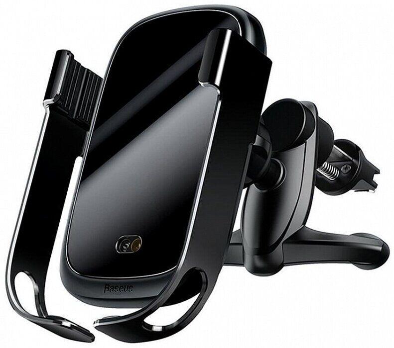 Автомобильный держатель Baseus Wireless Charger Rock Solid Electric Car Mount (WXHW-01) Black
