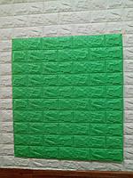 Декоративна 3Д-панель стінова Зелена трава Цегла (самоклеючі 3d панелі для стін оригінал) 700x770x7 мм
