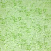 Декоративная 3Д-панель стеновая Зеленый Мрамор кирпич (самоклеющиеся 3d панели для стен оригинал) 700x770x5 мм