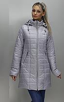 Удобная демисезонная женская удлинённая  куртка в 9-ти цветах  больших размеров с 48 по 74 размер, фото 2