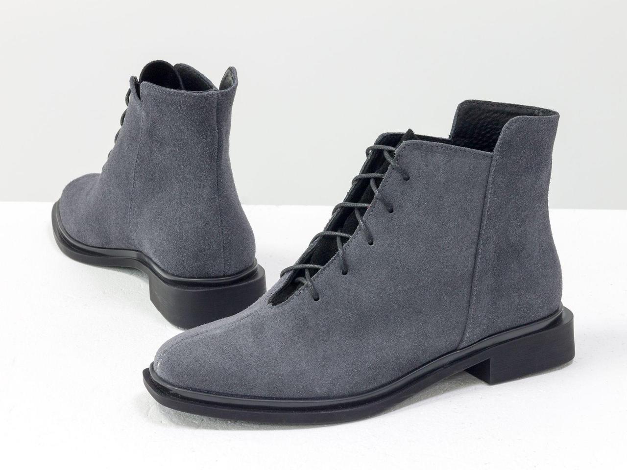 Ботинки классические серого и черного цвета из итальянской натуральной замши