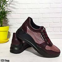 Кроссовки женские из натуральной кожи бордового цвета, фото 1