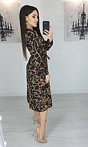 Платье женское миди черное с принтом цепи S, M, L. на запах темное с длинным рукавом миди, фото 2