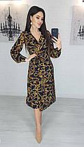 Платье женское миди черное с принтом цепи S, M, L. на запах темное с длинным рукавом миди, фото 3