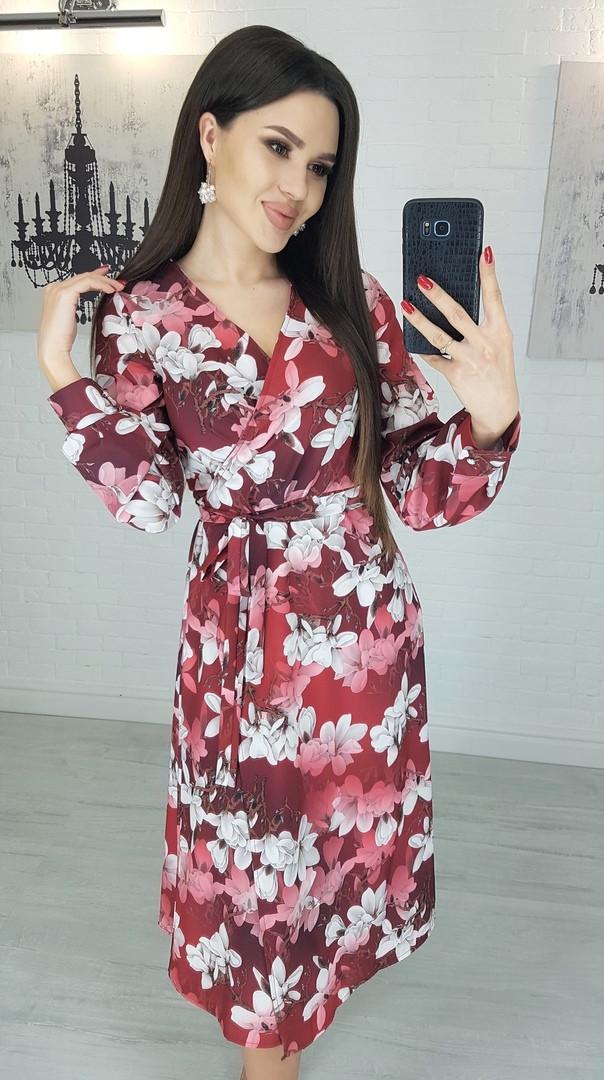 Платье женское бордовое Магнолия размеры S, M, L.