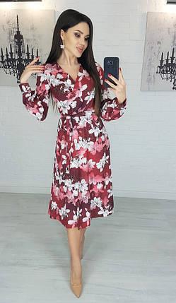 Летнее платье женское магнолия на бордо XL, фото 2