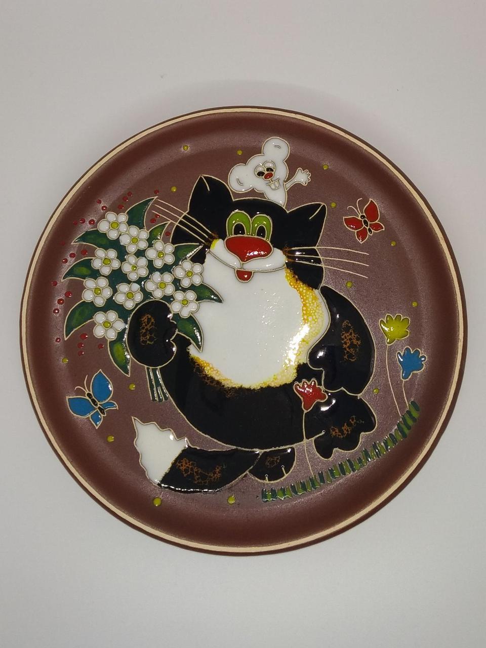 """Тарелка потата """"Кот с  букетом и мышью"""""""