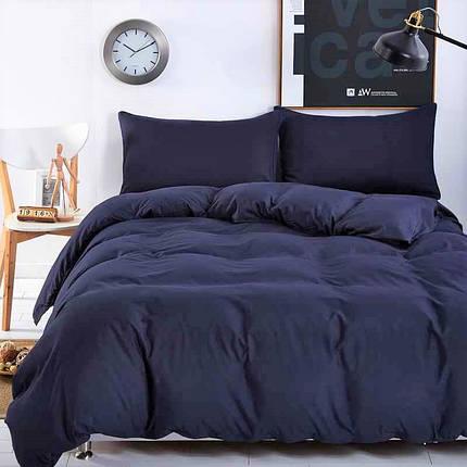 Постільна білизна ранфорс DeLux Темний синій ТМ Moonlight Двоспальний, фото 2
