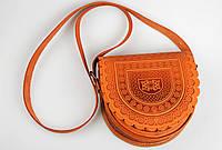 Кожаная женская сумка Тобивка, рыжая сумка через плечо