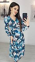 Летнее платье женское магнолия миди на запах батал XL
