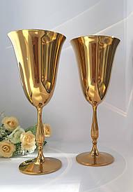 Свадебные золотистые бокалы Bohemia Fregata 350 мл 2 шт