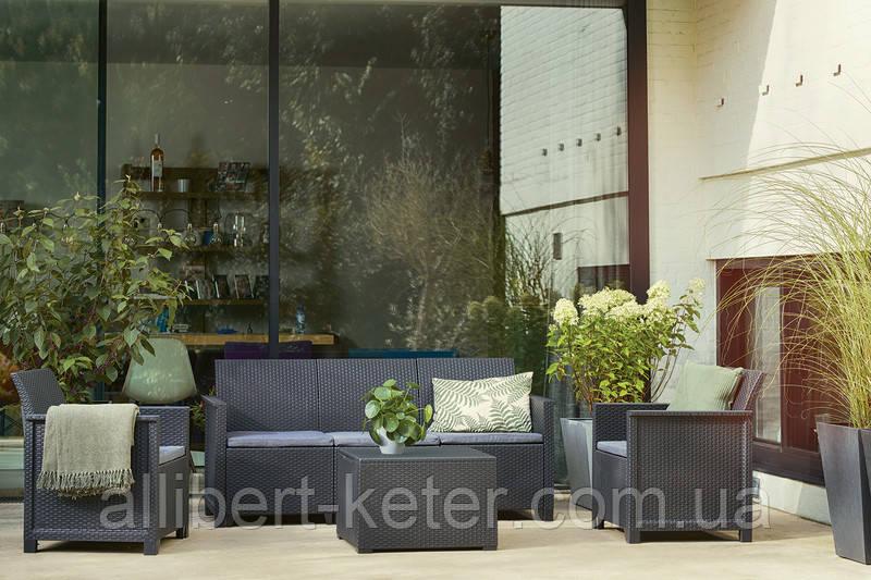 Комплект садовой мебели Allibert Emma 3 Seater Sofa Set Smooth Arms With Storage Table