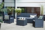 Комплект садовой мебели Allibert Emma 3 Seater Sofa Set Smooth Arms With Storage Table, фото 6
