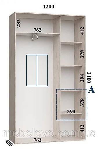 Шкаф-купе 2 двери Стандарт 120х45 h-210, ТМ Феникс