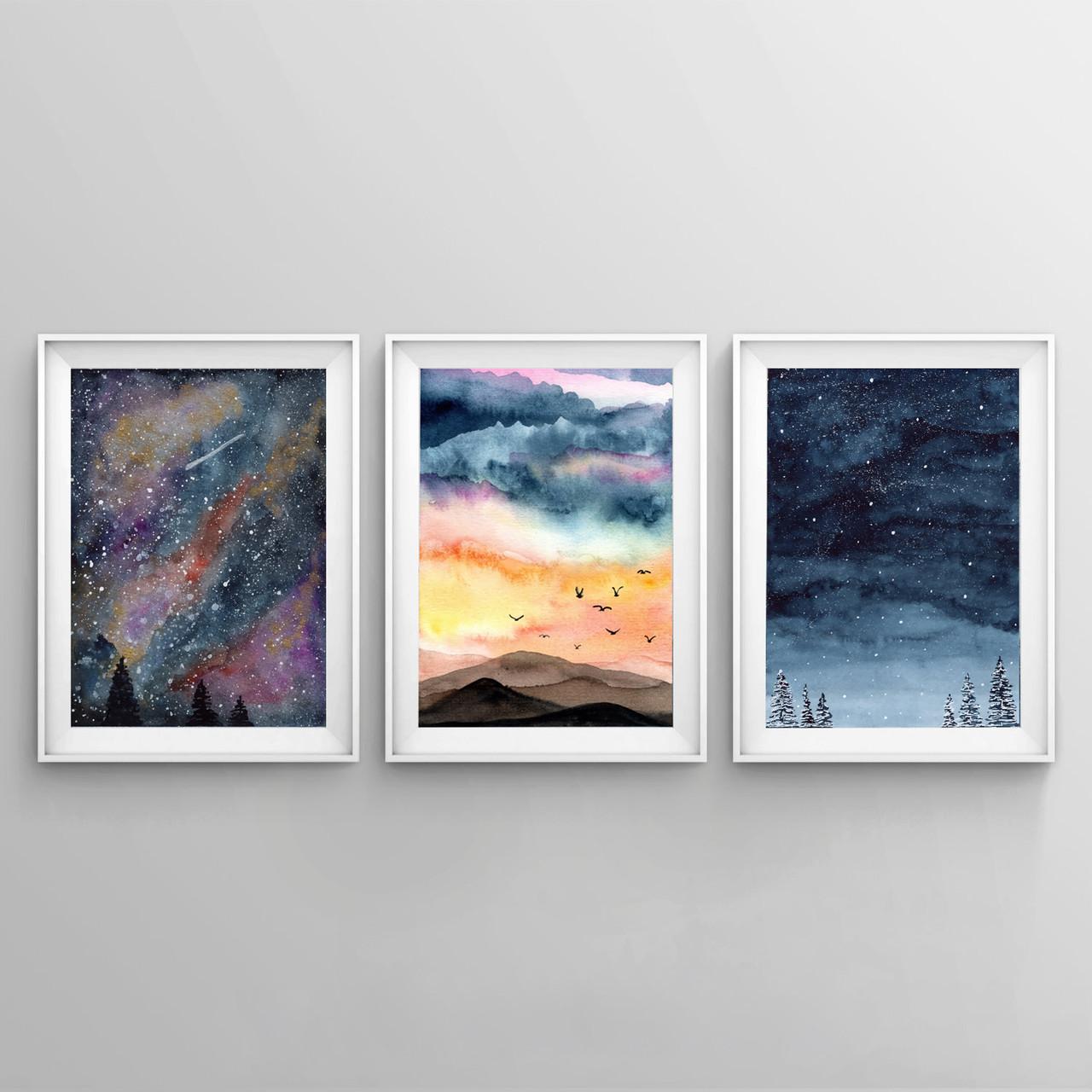 Набір плакатів Акварельне небо формат А3