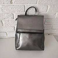 """Женский кожаный рюкзак-сумка(трансформер) серебро """"Жозефина 2 Silver"""""""