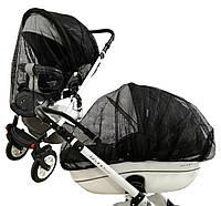 АнтиМоскитная сетка на коляску большой размер Польша Черная защита от комаров для любой коляски к