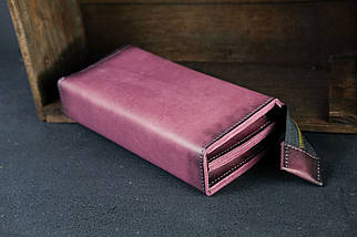 Кошелек клатч Тревел Кожа Итальянский краст цвет Бордо, фото 2