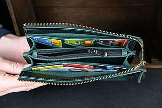 Кошелек клатч Тревел Кожа Итальянский краст цвет Зеленый, фото 2