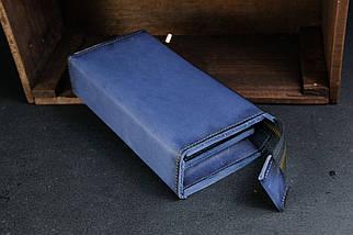 Кошелек клатч Тревел Кожа Итальянский краст цвет Синий, фото 2