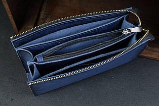 Кошелек клатч Тревел Кожа Итальянский краст цвет Синий, фото 3