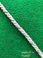 Шнур декоративный 6мм/100 ярдов (нить люрекс серебро+нить полиэфир белая)