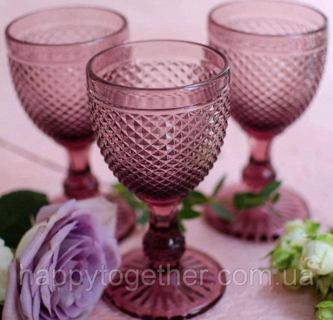 Набор бокалов DS Amber Pink для вина 250 мл 6 шт
