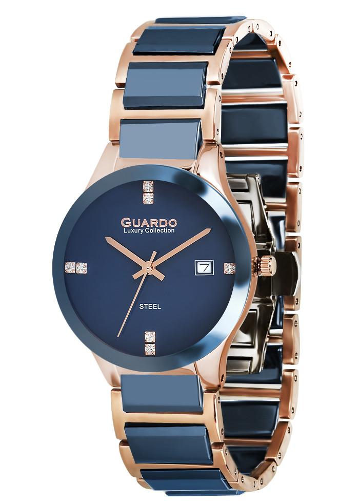 Годинники жіночі Guardo S00580-6 синьо золоті