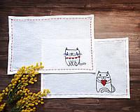 """Текстильная салфетки для сервировки стола с машинной вышивкой """"Влюбленные коты"""" (комплект 2шт)"""