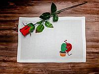 """Текстильная салфетка для сервировки стола с машинной вышивкой """"Влюбленный кактус"""""""