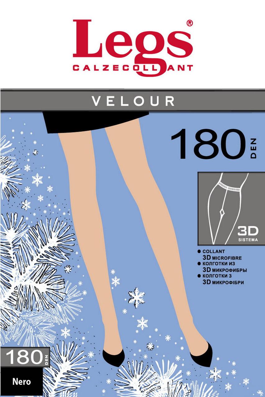 Леггинсы(3/4) с микрофиброй Velour 180 ден, чёрный,Legs