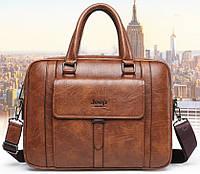 Стильная деловая сумка-портфель JEEP (под формат А4). Сумка для документов, сумка-портфель через плечо.