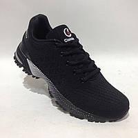 Мужские кроссовки ленте сетка черные удобные, фото 1