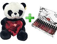 Плюшевая панда в подарочной упаковке + подарок № 5 (M)