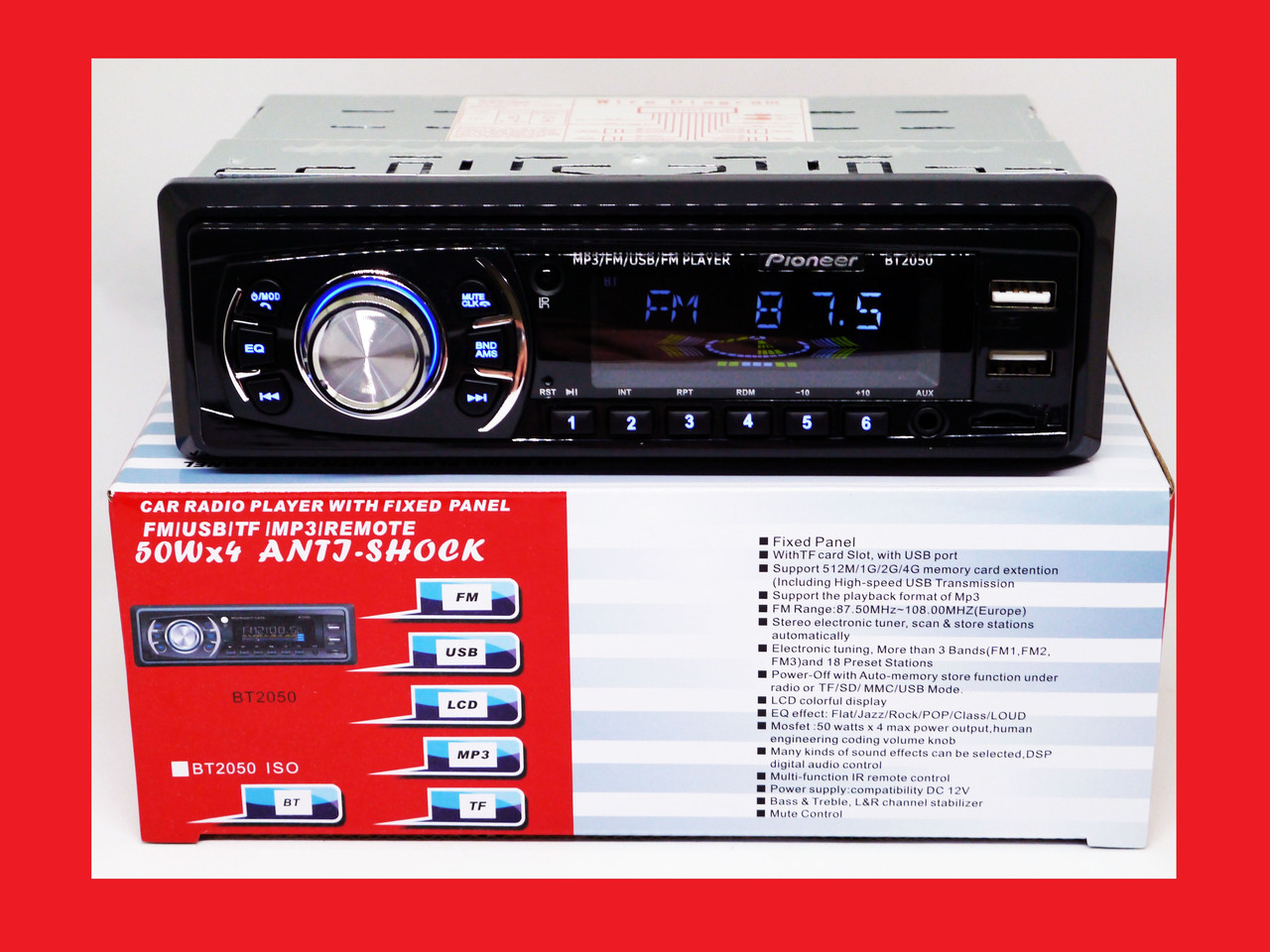 Pioneer BT2050 ISO - MP3+FM+2xUSB+SD+AUX + BLUETOOTH