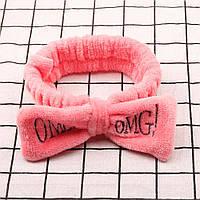 Повязка-бант для волос розовая