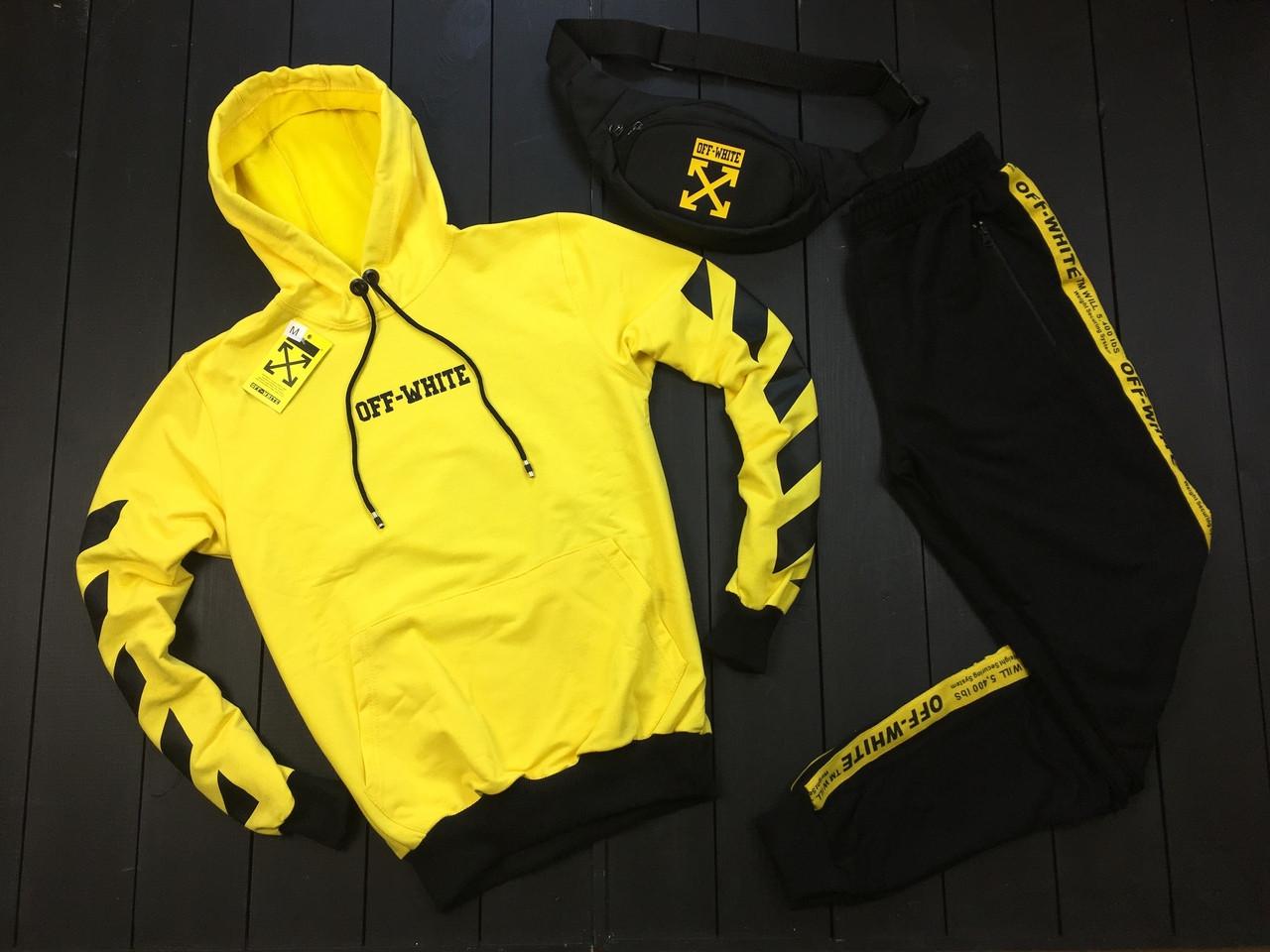 Мужской спортивный костюм Off-White (black/yellow), спортивный костюм офф-вайт