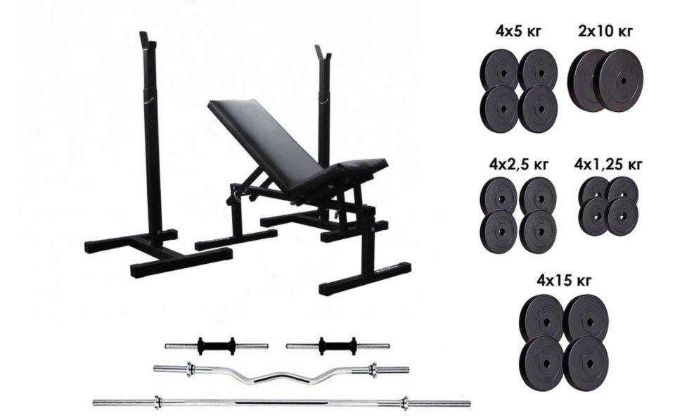 Силовой комплекс RN-Sport 162 кг. 4 грифа + 115 кг дисков + скамья и стойки