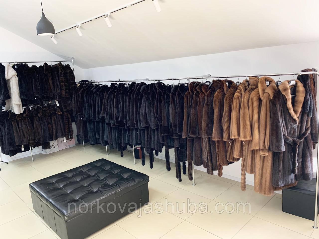 Норкова шуба, пальто темно коричнева 44 46