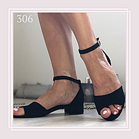 Женские босоножки на низком каблуке, черная замша, фото 1